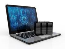 Rete di computer, comunicazione di Internet, isolata nel fondo bianco rappresentazione 3d Fotografia Stock Libera da Diritti