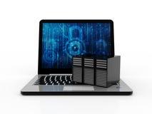 Rete di computer, comunicazione di Internet, isolata nel fondo bianco rappresentazione 3d Fotografia Stock