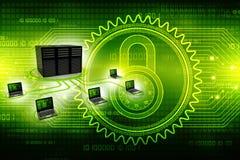Rete di computer, comunicazione di Internet, isolata nel fondo di tecnologia rappresentazione 3d Fotografia Stock Libera da Diritti