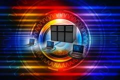 Rete di computer, comunicazione di Internet, isolata nel fondo di tecnologia rappresentazione 3d Fotografie Stock Libere da Diritti