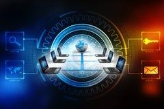 Rete di computer, comunicazione di Internet, isolata nel fondo di tecnologia rappresentazione 3d Fotografia Stock