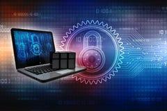 Rete di computer, comunicazione di Internet, isolata nel fondo di tecnologia rappresentazione 3d Immagini Stock Libere da Diritti