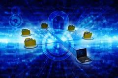 Rete di computer, comunicazione di Internet, isolata nel fondo di tecnologia rappresentazione 3d Fotografie Stock