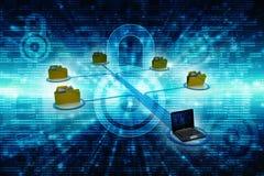 Rete di computer, comunicazione di Internet, isolata nel fondo di tecnologia rappresentazione 3d Immagine Stock