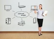Rete di computer del disegno della donna Immagini Stock