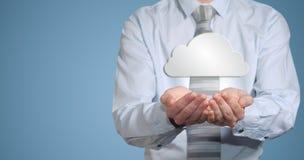 Rete di computer della nuvola della tenuta dell'uomo d'affari Fotografie Stock Libere da Diritti