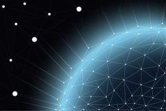 Rete di comunicazione globale intorno al mondo, scambio di informazioni mondiale dal collegamento tra reti immagini stock