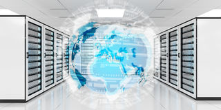 Rete di terra che sorvola la rappresentazione del centro dati 3D della stanza del server Immagine Stock