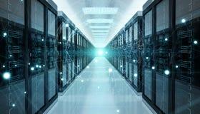 Rete di terra che sorvola la rappresentazione del centro dati 3D della stanza del server Fotografie Stock Libere da Diritti