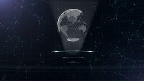 Rete di trasmissione di dati Pianeta Terra circondante su tre cerchi di ciclaggio Assegnazione del centro 3d Fine in su Copi lo s stock footage