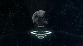 Rete di trasmissione di dati Pianeta Terra circondante su tre cerchi di ciclaggio Assegnazione del centro 3d Fine in su Copi lo s video d archivio