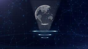 Rete di trasmissione di dati Pianeta Terra circondante su tre cerchi di ciclaggio Assegnazione del centro Vista superiore 3d Fine archivi video