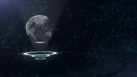 Rete di trasmissione di dati Pianeta Terra circondante su tre cerchi di ciclaggio Assegnazione sinistra 3d Fine in su Copi lo spa video d archivio