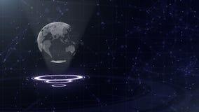 Rete di trasmissione di dati Pianeta Terra circondante su tre cerchi di ciclaggio Assegnazione sinistra 3d Fine in su Copi lo spa archivi video