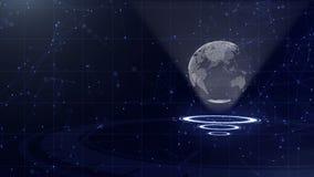 Rete di trasmissione di dati Pianeta Terra circondante su tre cerchi di ciclaggio Giusta assegnazione 3d Fine in su Copi lo spazi archivi video