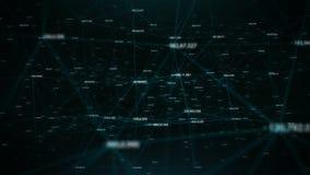 Rete digitale globale del bello plesso con i numeri che volano da parte a parte video d archivio