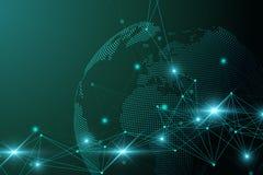 Rete e pianeta Terra eccessivo dello scambio dei dati nello spazio Comunicazione grafica virtuale del fondo con il globo del mond illustrazione vettoriale
