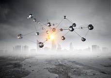 Rete e tecnologie moderne Media misti Immagine Stock