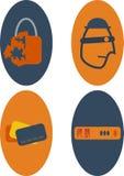 Rete ed icone di protezione dei dati Fotografia Stock