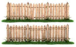Rete fissa di legno con erba Fotografie Stock