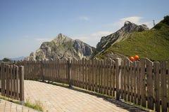 Rete fissa di legno nelle alpi Fotografia Stock Libera da Diritti