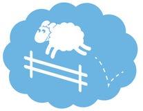 Rete fissa di salto delle pecore bianche Fotografia Stock