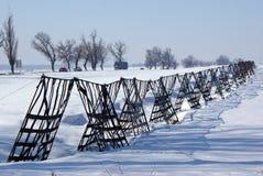 Rete fissa metallica contro la tempesta della neve Fotografie Stock Libere da Diritti