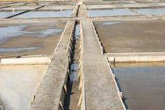 Rete fognaria fra gli stagni di evaporazione del sale Immagine Stock