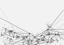 Rete futuristica di tecnologia in bianco e nero geometrica Fotografie Stock