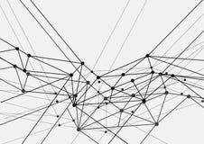 Rete futuristica di tecnologia in bianco e nero geometrica Fotografie Stock Libere da Diritti