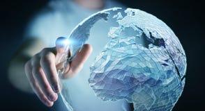 Rete globale commovente dell'uomo d'affari sulla rappresentazione del pianeta Terra 3D Fotografia Stock