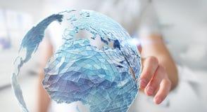 Rete globale commovente dell'uomo d'affari sulla rappresentazione del pianeta Terra 3D Fotografia Stock Libera da Diritti