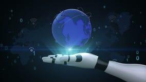 Rete globale crescente con la comunicazione di Wi-Fi, mappa di mondo, terra sulla palma del cyborg del robot, mano, braccio del r illustrazione di stock