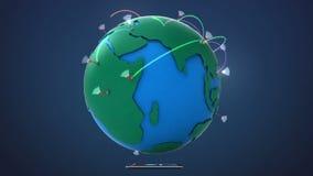 Rete globale crescente con la comunicazione, facendo uso dello Smart Phone illustrazione di stock