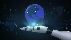 Rete globale crescente con la comunicazione, mappa di mondo, terra sulla palma del cyborg del robot, mano, braccio del robot illustrazione vettoriale