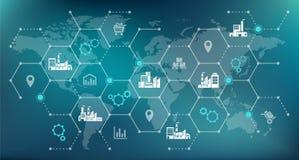 Rete globale della società - crescita, commercio & logistica - illustrazione illustrazione vettoriale