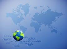 rete globale internazionale sopra una mappa di mondo Immagine Stock