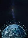 Rete globale su terra -- Elementi di questa immagine ammobiliati dalla NASA Immagine Stock Libera da Diritti