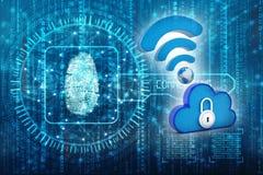 Rete informatica della nuvola isolata nel fondo di tecnologia 3d rendono Fotografia Stock Libera da Diritti