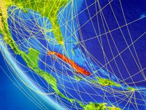 Rete intorno a Cuba da spazio illustrazione di stock