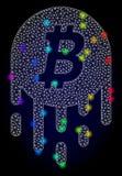 Rete Mesh Melting Bitcoin di vettore con i punti di abbagliamento colorati spettro illustrazione di stock