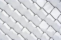 Rete metallica di Snowy Fotografia Stock