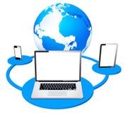 Rete mobile globale della compressa e del computer portatile Fotografie Stock