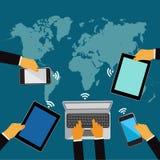 Rete mondiale, mani che tengono i telefoni cellulari e le compresse, illustrazione di vettore Fotografia Stock