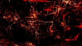 Rete neurale artificiale Nodi elettronici rossi in Cyberspace elettronico illustrazione di stock
