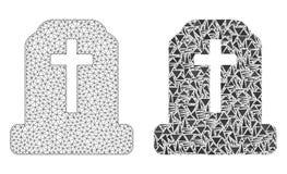 Rete poligonale Mesh Cemetery ed icona del mosaico illustrazione di stock