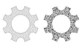 Rete poligonale Mesh Cogwheel ed icona del mosaico illustrazione di stock