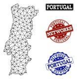 Rete poligonale Mesh Vector Map dei bolli di lerciume della rete e del Portogallo illustrazione di stock