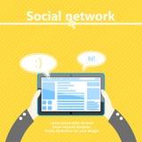 Rete sociale Computer della compressa disponibile Progettazione piana Royalty Illustrazione gratis