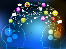 Rete sociale, comunicazione nel globale illustrazione di stock